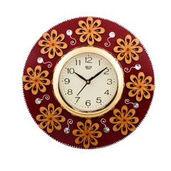 ecraftindia-golden-flowers-fine-crafted-papier-mache-wooden-handcrafted-wall-clock_1