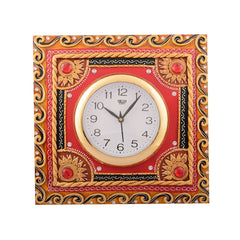ecraftindia-wooden-papier-mache-red-stone-studded-artistic-handcrafted-wall-clock_1
