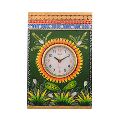 eCraftIndia Wooden Papier Mache Green Leaves Artistic Handcrafted Wall Clock