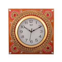 eCraftIndia Wooden Papier Mache Dazzling Artistic Handcrafted Wall Clock
