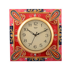 eCraftIndia Wooden Papier Mache Suberb Artistic Handcrafted Wall Clock