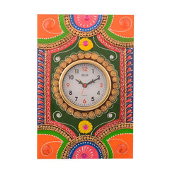 eCraftIndia Wooden Papier Mache Traditional Work Artistic Handcrafted Wall Clock