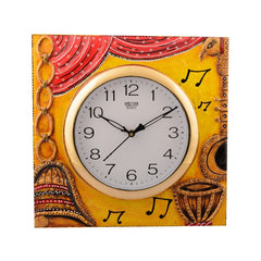 eCraftIndia Wooden Musical Instrument Artistic Handcrafted Wall Clock