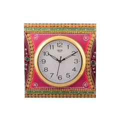 eCraftIndia Wooden Papier Mache Decorative Artistic Handcrafted Wall Clock