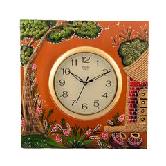eCraftIndia Wooden Papier Mache Garden View Artistic Handcrafted Wall Clock