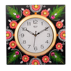 eCraftIndia Wooden Papier Mache Florid Leaf Design Handcrafted Wall Clock