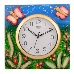 ecraftindia-wooden-papier-mache-butterfly-aqua-kids-handcrafted-wall-clock_1