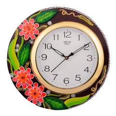 eCraftIndia Wooden Papier Mache Floral Artistic Handcrafted Wall Clock