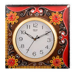 eCraftIndia Wooden Papier Mache Floral Embossed Handcrafted Wall Clock
