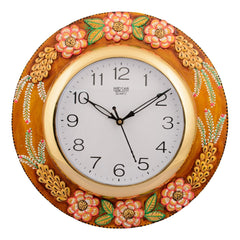 ecraftindia-wooden-papier-mache-embossed-flowers-handcrafted-wall-clock_1