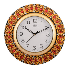 ecraftindia-wooden-papier-mache-embossed-red-crystal-handcrafted-wall-clock_1