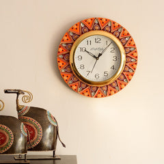 eCraftIndia Geometric Shape Decorative Papier-Mache Wooden Handcrafted Wall Clock