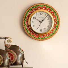 eCraftIndia Crystal Studded Embellish Papier-Mache Wooden Handcrafted Wall Clock
