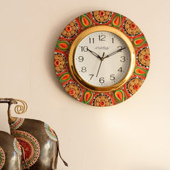 KWC569-eCraftIndia-Crystal-Studded-Embellish-Papier-Mache-Wooden-Handcrafted-Wall-Clock_1