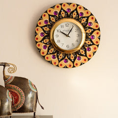 eCraftIndia Purple and Red Crystal on Adorning Heart Wooden Handcrafted Wall Clock