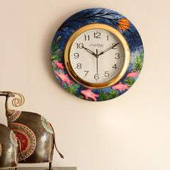 eCraftIndia Underwater Life View with Embossed Fishes Wooden Handcrafted Wall Clock