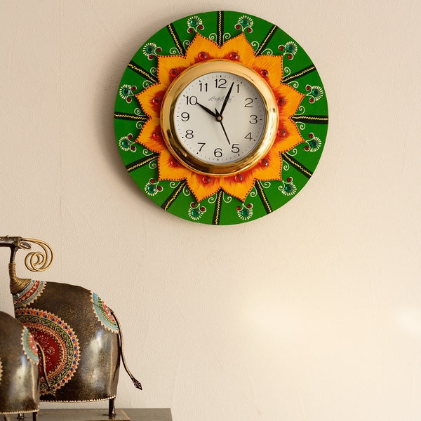 kwc577-ecraftindia-crystal-studded-floral-shape-wooden-handcrafted-wall-clock_1