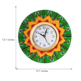 kwc577-ecraftindia-crystal-studded-floral-shape-wooden-handcrafted-wall-clock_3