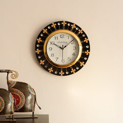 eCraftIndia Crystal and Geometric Blocks Studded Black Wooden Handcrafted Wall Clock