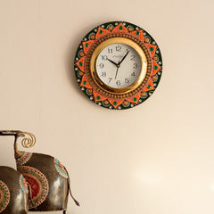 eCraftIndia Crystal Studded Floral Shape Papier-Mache Wooden Handcrafted Wall Clock