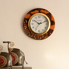 eCraftIndia Birds Flying under Clouds View Wooden Handcrafted Wall Clock
