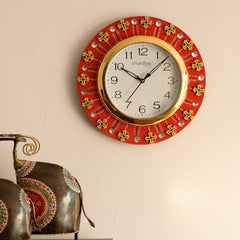 eCraftIndia Crystal and Geometric Blocks Studded Red Wooden Handcrafted Wall Clock