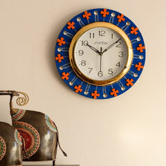 ecraftindia-crystal-and-geometric-blocks-studded-blue-wooden-handcrafted-wall-clock_1
