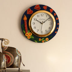 eCraftIndia Love Hearts Series with Candle & Flower Embossed Papier-Mache Wooden Handcrafted Wall Clock