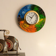 eCraftIndia Beautiful & Colorful Senary View Wooden Handcrafted Wall Clock