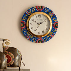 eCraftIndia Colorful Floral Papier-Mache Wooden Handcrafted Wall Clock