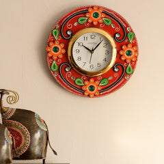 eCraftIndia Crystal Studded Floral Papier-Mache Wooden Handcrafted Wall Clock