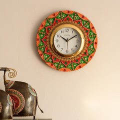 eCraftIndia Decorative Papier-Mache Wooden Handcrafted Wall Clock