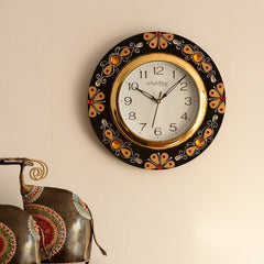 eCraftIndia Yellow Crystal Studded Decorative Papier-Mache Wooden Handcrafted Wall Clock