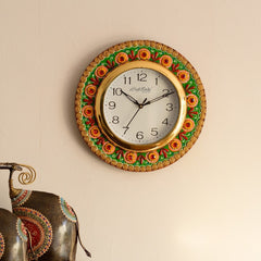 eCraftIndia Traditional Design Papier-Mache Wooden Handcrafted Wall Clock