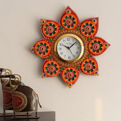 eCraftIndia Green Crystal Studded Decorative Papier-Mache Wooden Handcrafted Wall Clock