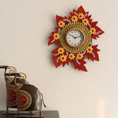 eCraftIndia Leaf Shape Artistic Papier-Mache Wooden Handcrafted Wall Clock