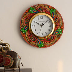 eCraftIndia Lavish Artistic Design Papier-Mache Wooden Handcrafted Wall Clock