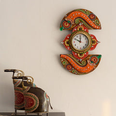 eCraftIndia Shehnai Embossed Artistic Papier-Mache Wooden Handcrafted Wall Clock