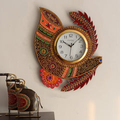 eCraftIndia Shehnai Shape Papier-Mache Wooden Handcrafted Wall Clock