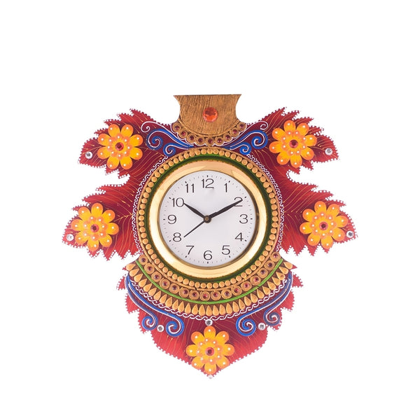 kwc630-ecraftindia-floral-lead-shape-wooden-handcrafted-wooden-wall-clock-h-15-5-inch_1
