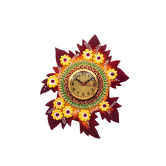 kwc666-ecraftindia-handcrafted-papier-mache-leaf-shape-wall-clock_1