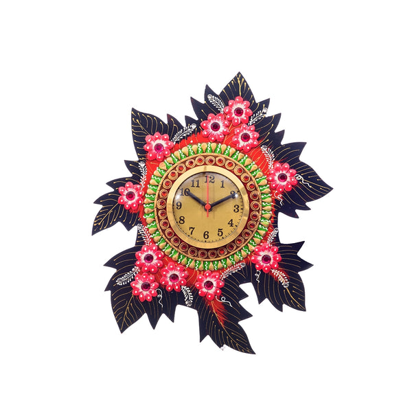 kwc669-ecraftindia-handcrafted-papier-mache-leaf-shape-wall-clock_1