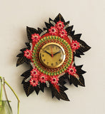 kwc669-ecraftindia-handcrafted-papier-mache-leaf-shape-wall-clock_2