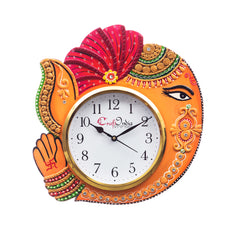 kwc682-ecraftindia-handicraft-lord-ganesha-analog-wall-clock-orange-red-with-glass_1