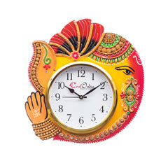 kwc684-ecraftindia-handicraft-lord-ganesha-analog-wall-clock-orange-red-black-with-glass_1