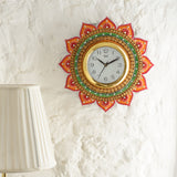 kwc685-ecraftindia-analog-wall-clock-orange-green-with-glass_2