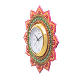 kwc685-ecraftindia-analog-wall-clock-orange-green-with-glass_4