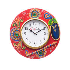 kwc690-ecraftindia-analog-wall-clock-red-green-with-glass_1