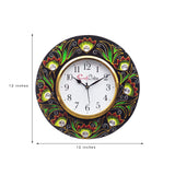 kwc692-ecraftindia-analog-wall-clock-red-green-with-glass_3