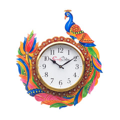 kwc693-ecraftindia-handicraft-peacock-analog-wall-clock-red-green-with-glass_1